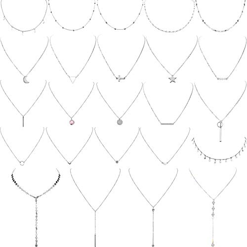 Yaomiao 24 Pieces Layered Necklace Multilayer Choker Necklace Tiered Chokers Necklace Charm Pendant Necklace for Women Girls (Silver)