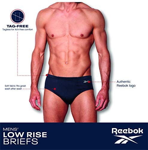 Reebok Men's Low Rise Underwear Briefs (5 Pack), Size Large, Blues/Greys