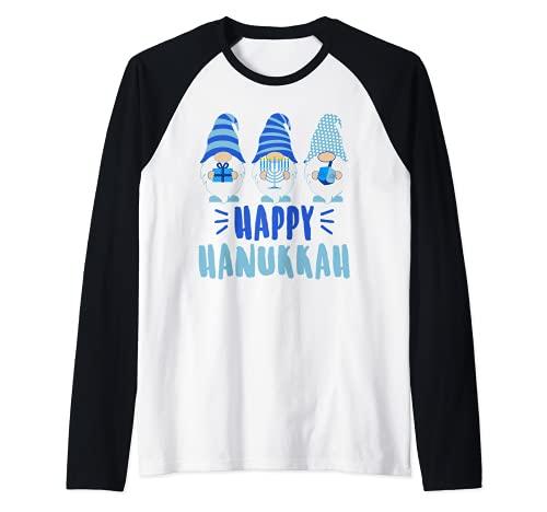 Tu Happy Hanukkah 2020 Gnome Menorah Dreidel Costume Raglan Baseball Tee