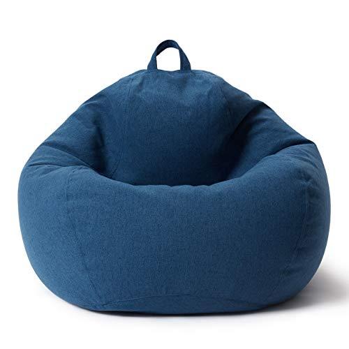 Lumaland Puff Pera Comfort Line con Taburete Disponible - Sillón Relax Puff Moldeable de Interior - Puff Infantiles con Relleno Incluido - 315 L 100x120x50 cm - Azul Oscuro