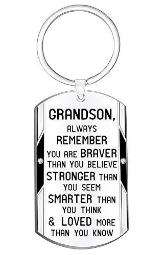 Grandson Inspirational Keychain Gift- Always Remember You are Braver Stronger Smarter