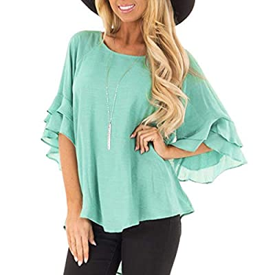RAINED-Women Chiffon Blouse Solid Color Ruffle Sleeve T-Shirts Summer Office Cool Shirts Slim Fit Tops Loose Tanks