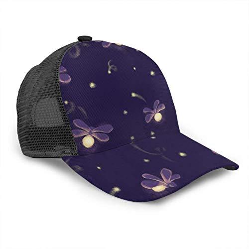 Baseball Cap Männer Frauen, Firefly Mystery Night Glowworm Verstellbare Trucker Mesh Sommer belüftete Baseball Sun Cap Hut Baseball Cap für Frauen