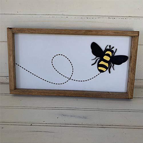 EricauBird Cartel de madera con marco de miel Flying Bee Buzz, para decoración de pared de madera, para casa, jardines, porche, galería, cafeterías.
