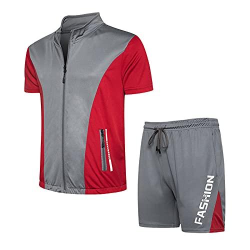 ZGDJZM Chándal con Cremallera para Hombre 2 Piezas Sweatsuit Outfit Jogging Sport T Shirts Y Shorts Set Grey-M