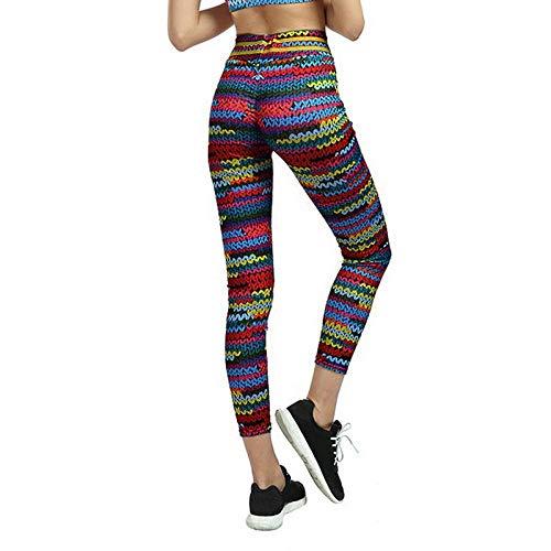 Pantalones de Yoga Imprimir Leggins Fruncidos Deporte Mujer Fitness Pantalones De Yoga Medias De Gimnasio 3D Harajuku Push Up Sporty Slim Pants-L