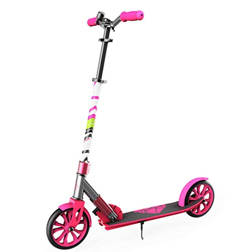 "Swagtron K8 Folding Kick Scooter with Kickstand for Kids & Teens, XL 8"" Big Wheels & ABEC-9 Bearings Lightweight, Height-Adjustable Stem, 220lb Rider Capacity (Pink)"