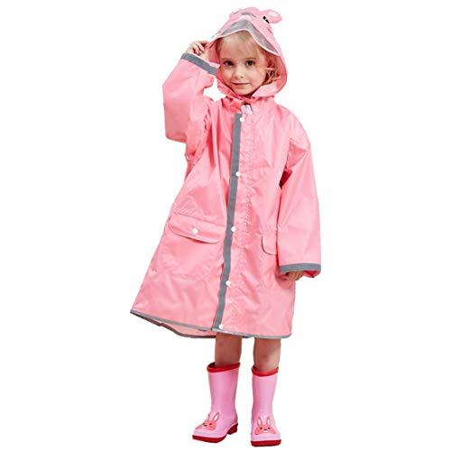 JZK Chubasquero impermeable poncho Impermeables chaquetas capa lluvia con mangas y capucha y rayas reflectantes para niños y niñas de 2-4 4-6 6-10 años (L, Rosa)