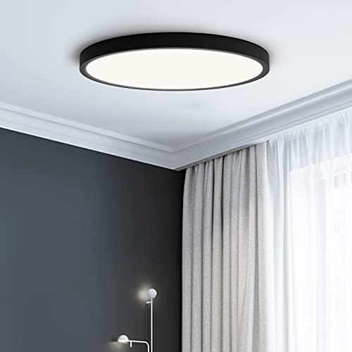 NIVEOLI LED Deckenlampe,18W Flimmerfreie Deckenleuchte CRI 80+,Deckenleuchten 4000k Modern Schwarz Ultra Dünn 2.5cm Ø30cm Neutralweiß Licht,für Badezimmer Wohnzimmer Balkon Flur Küche Büro