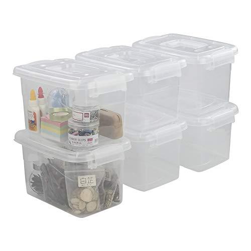 CadineUS Plastic Latch Boxes Set of 6, Storage Bin with Handle (Transparent)