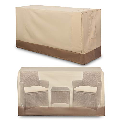 """Patio Furniture Set Covers Outdoor 100% Waterproof 600D Oxford Polyester Durable Heavy Covers Suitable for 3 Pieces Conversation Sets Size 64"""" x 24"""" x 34"""" , Beige & Brown"""