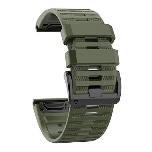Correa de silicona para Garmin Fenix 6X 5X 3 D2 Tactix Bravo (verde militar)