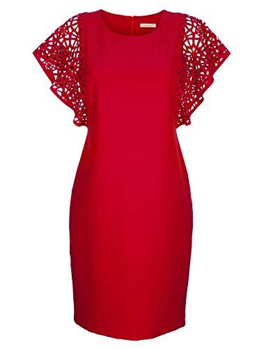 Alba Moda Damen Kleid Rot 34 Kunstfaser