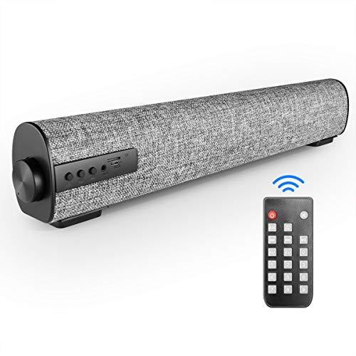 VANZEV Portátil Barra de Sonido Bluetooth, Sonido Estéreo 3D para PC, Teléfono Móvil, Tableta, Ordenador, TV, Compatible con Tarjeta AUX RCA TF, Color Gris