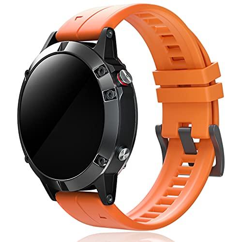 IDMEY Sport Strap Compatible with Garmin Fenix 5, 22mm Soft Silicone Replacement Strap for Garmin Fenix 5/Fenix 5 Plus/Fenix 6/Fenix 6 Pro/Forerunner 935/Forerunner 945/Quatix 5, Orange