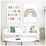 Wandkunst Leinwand Regenbogen Kinderzimmer Dekor ABC Alphabet Poster Druck Bilder Baby Mädchen...