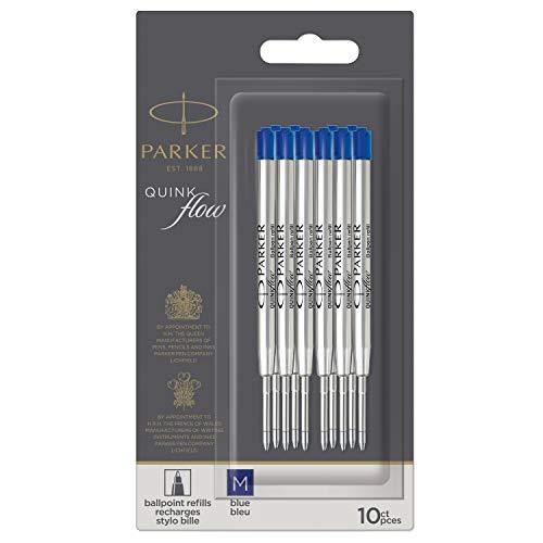 PARKER QUINKflow-Kugelschreiberminen | Mittlere Schreibspitze | Blau | Packung mit 10 Stück