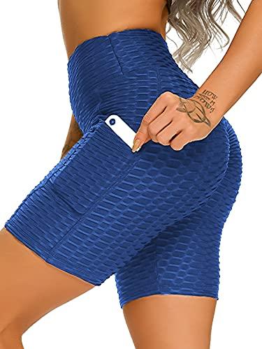 FITTOO Pantalones cortos para mujer de malla Honeycomb Skinny Slim Fit Po Lifting Push Up, pantalones cortos deportivos para entrenamiento, jogging, yoga, 1/4 con cintura alta con bolsillos azul S