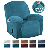 H.VERSAILTEX 1 Piece Stretch Real Super Velvet Plush Recliner Slipcovers, Recliner Chair Cover, Recliner Cover Furniture Protector Elastic Bottom, Recliner Slipcover with Side Pocket, Peacock Blue