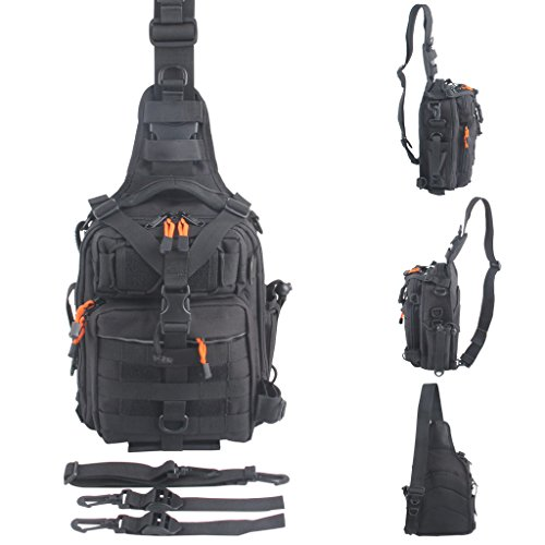BLISSWILL Outdoor Tackle Bag Multifunctional Water-Resistant Fishing Bag Single Shoulder Bag Crossbody Fishing Bag Fishing Gear Storage Bag Backpack For Fishing Hunting Hiking Climbing Cycling (Black)