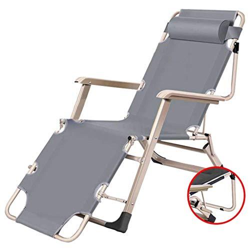 ZHJYD Liege Sonnenliege Stuhl Reclining im Freien Garten-Klappstuhl Camping Bett Sessel mit Kopfstütze Faltbare Liegesessel for Strand Angeln Patio Conservatory (Color : Gray)