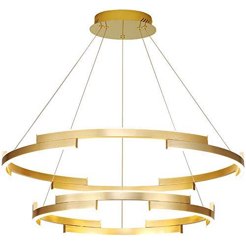 Pendelleuchte led touch pendelleuchte led dimmbar höhenverstellbar pendellampe 2 flammig kronleuchter gold Zwei-Ring Wohnzimmer-leuchten Nordic Modern 100W 3000-6000K Φ 40CM*60cm