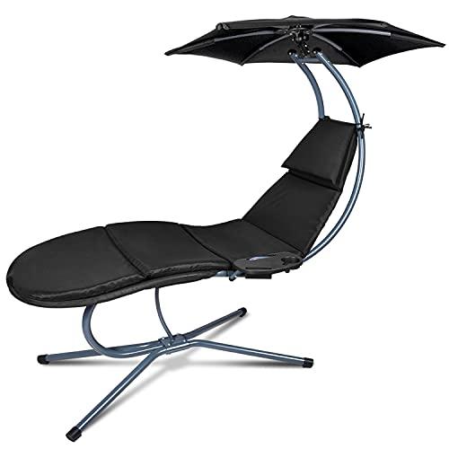 RANSENERS® Sdraio Sospesa, Lettino a dondolo da giardino, sedia relax, Con ombrellone regolabile e...
