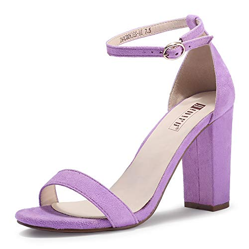 IDIFU Women's IN4 Cookie-HI Chunky Block High Heel Open Toe Ankle Strap Dress Party Wedding Pump Sandals (Lavender Suede, 9 M US)