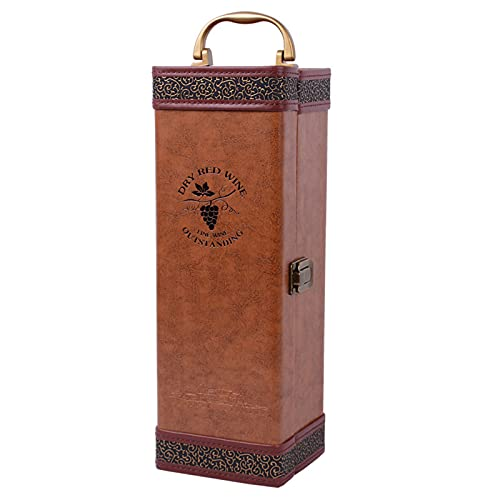 Cuero MarróN Caja de Botella de Vino PortáTil Hecho A Mano Caja de Vino Lujoso Caja de Regalo de Vino con Clave De Vino para Saludo VisualizacióN De Boda De Regalo De Negocio
