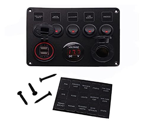 Longx Store Panel de interruptores de automóviles 12V Voltímetro Accesorios duales USB Ajuste para Barco Marino Caravan RV Switches de Pantalla Digital eléctrica (Color : 5Gang Red)