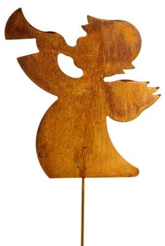 Bornhöft Gartenstecker Engel aus Edelrost Metall Rost Gartendekoration Weihnachten rostige Gartendekoration 118cm