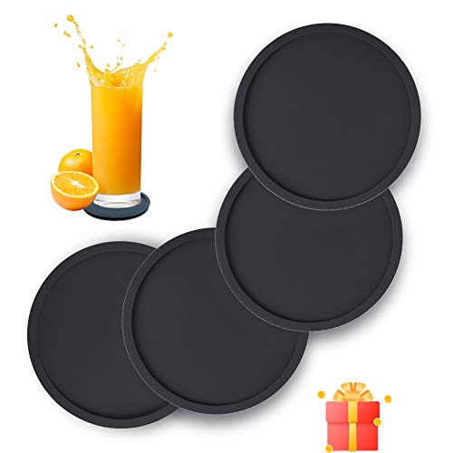 Silicone Drink Coasters Set of 4 Non-Slip Cup Coasters Heat Resistant Cup Mate Soft Coaster for Tabletope Protection Furniture from Damage Black