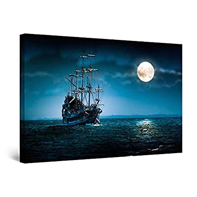 "Startonight Canvas Wall Art Ship and Moon on Blue Sea Painting, Framed 32"" x 48"" by Made in Transylvania"