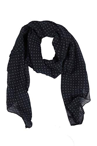 Zwillingsherz Seiden-Tuch im Punkte Design - Hochwertiger Schal für Damen Mädchen - Halstuch - Umschlagstuch - Loop - weicher Schlauchschal für Frühjahr Sommer Herbst und Winter - navy