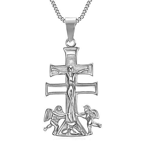 BOBIJOO JEWELRY - Collar Colgante Cruz de Caravaca de la Cruz, de 44 mm de Plata de Acero 316L de la Cadena de
