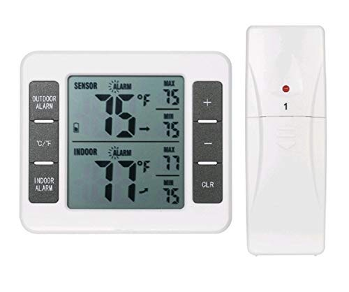 Großes digitales LCD-Kühlschrankthermometer, Tiefkühlthermometer, Kühlschrankthermometer, Temperaturüberwachung mit einem Sensor-Wecker und Min/Max Aufzeichnungen [Batterie nicht enthalten]