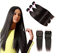 Hair Material: straight hair bundles with closure 100% Unprocessed Remy Human Hair Deals, 8A Grade Brazilian Virgin Human Hair Hair Quality: 8A Grade 100% Unprocessed Brazilian Virgin staright human Hair, All Hair are Cut from One Donor. Soft, Silky ...