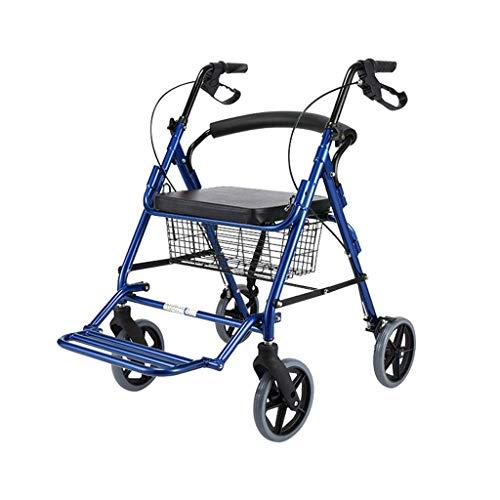 Walker Transportrollwagen mit Sitz und 4 Rädern, klappbarer höhenverstellbarer Teil kompakter Rollwagen, Leichter Aluminium-Transportrollwagen, blau