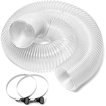 Yellowhammer Dust Management Deluxe Ultra Clear Flexible Wire Reinforced PVC 4 Inch x 10 Foot Dust Collection Hose with 2 Each Key Hose Clamps