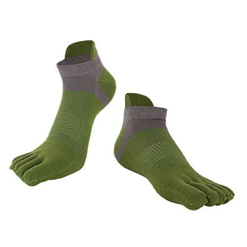 Baoblaze Chaussettes Homme – Coton – Confortable et Respiration – Taille 38 à 44 – Chaussettes à 5 Orteil Doigts Séparés - vert, 38 à 44