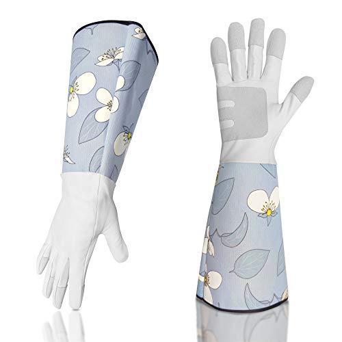 SLARMOR Gartenhandschuhe aus Leder für Damen und Herren, Dornensichere Arbeitshandschuhe zum Beschneiden von Rosen, mit Unterarmschutz mit Blumendruck -Blau