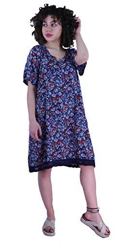 Induswereld dames oversize jurk zomerjurk met boord en tassen gebloemd