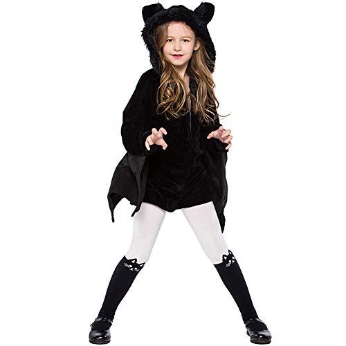 NIMIFOOL Disfraces para niños Material De Franela Niña Traje De Murciélago Negro Familia De Padres E Hijos Adecuado para La Fiesta Escolar De Halloween,XS