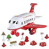 Juguete de transporte de avión de carga para niños de 3 4 y 5 años, juego de juguete de aviones para niños con luces y sonidos de juguete de avión, vehículo educativo juego de avión de avión
