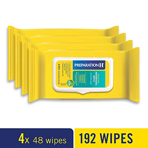 Preparation H Medicated Hemorrhoidal Wipes for Cleansing, Burning, Itch and Irritation Relief, 4 packs of 48 count, 192 count