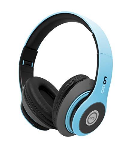 iJoy Auriculares Bluetooth inalámbricos de Diadema con con micrófono, Ligeros Plegables y Recargables, Incluye Ranura para Tarjeta Micro SD, Azul