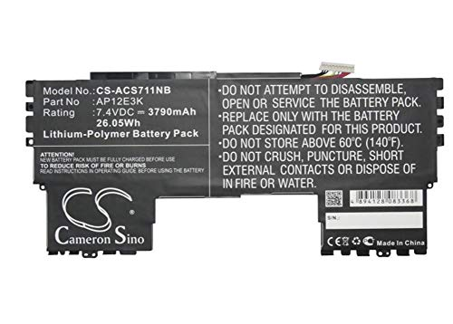 Cameron Sino 7.4V/3790mA AP12E3K Replacement Battery for Acer Aspire Aspire S7 11',Aspire S7 Ultrabook IPS,Aspire S7-191 Battery