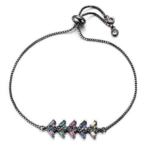 Jewellery Bracelets Bangle For Womens Beautiful Princess Cut Cubic Zirconia Crystal Bracelet Wedding Slider Chain Geometric Tennis Bracelets Women Jewelry Black