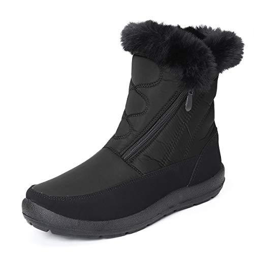 gracosy Snow Boots for Women, Warm Ankle Boots Waterproof Outdoor Slip On Fur Lined Winter Short Booties Anti-Slip Comfort Zipper Shoes Black 9 Women