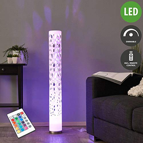 Lindby LED Stehlampe 'Alisea' dimmbar mit Fernbedienung (Modern) in Weiß u.a. für Wohnzimmer & Esszimmer (1 flammig, GU10, A, inkl. Leuchtmittel) - LED-Stehleuchte, Floor Lamp